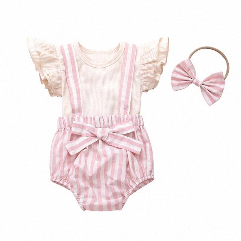 barboteuse vêtements filles nouveau-né à manches volantées Bow jumpsuit + Bandeau Tenues Deux Piece Suit Vêtements 0-24M enfants Vêtements de #