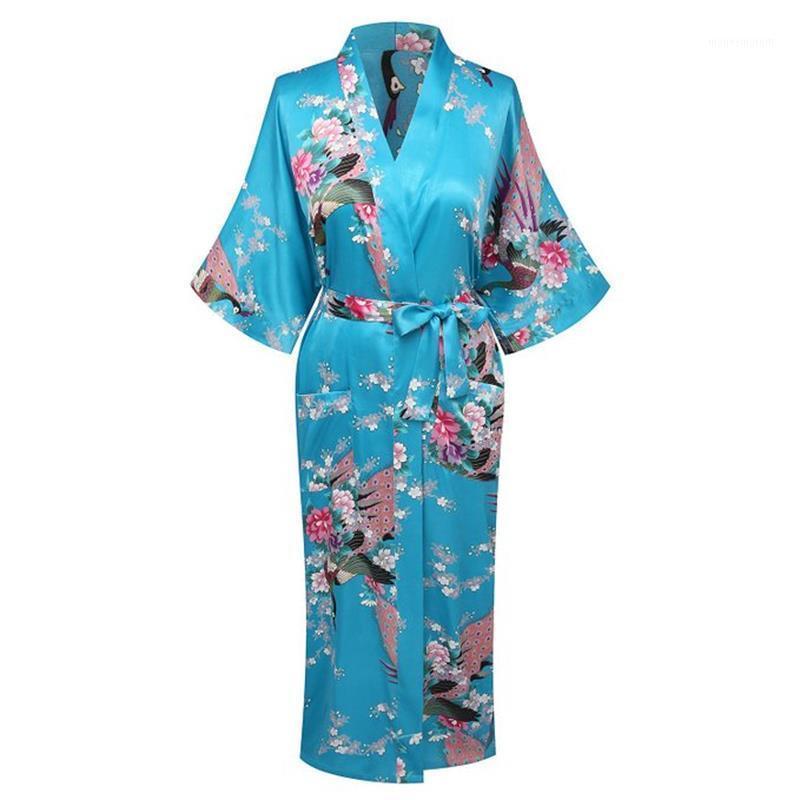 Donne Pigiama Fashion giapponese Sexy Kimono Peacock Print Dress Dress tradizionale Retro NightGown Abbigliamento 14 Colore Banco Allentato Robe1