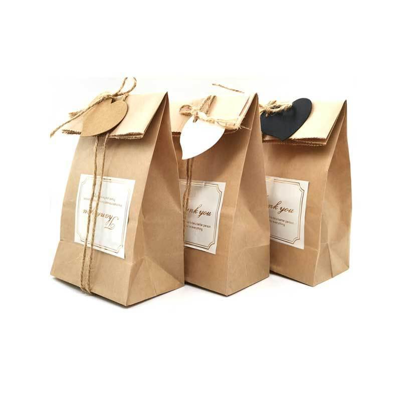 Sac cadeau de Noël sac de papier kraft sac de cadeau de ficelle bricolage 15 pièces ensemble de mariage fête de noël fête sèche