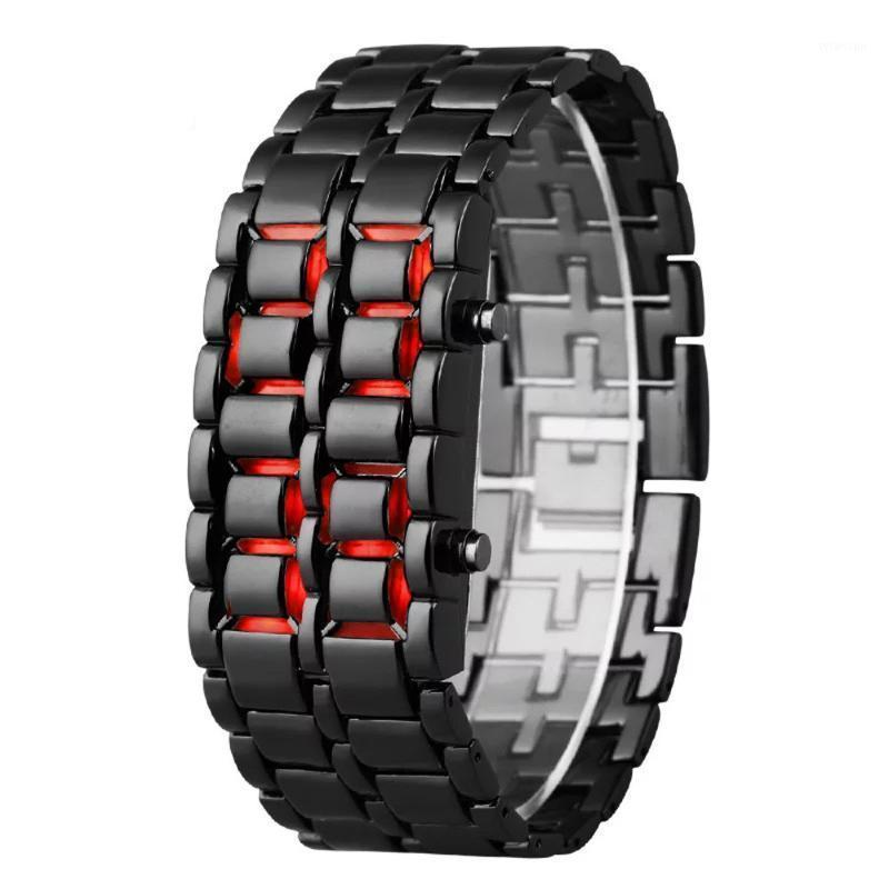 Fashion Men Watch Mens Watches Full Metal Digital Wrist Watch Red LED Samurai for Men Boy Sport Simple Watches relogio masculino1
