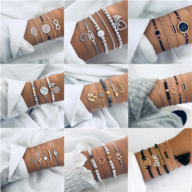 NEWBUY pulseras del encanto 23 de la mezcla del estilo de la tortuga perla del corazón de la onda de amor de cristal de mármol para las mujeres de Boho de la borla de la pulsera de Femme Bijoux