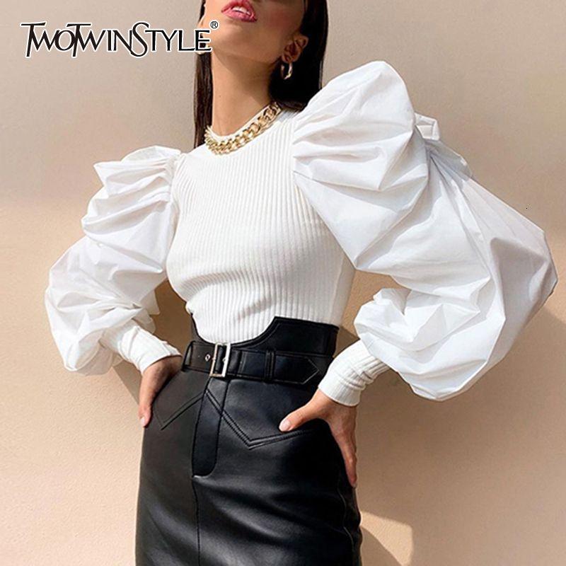 TWOTWINSTYLE Beyaz Patchwork Örme Dantelli Kadın' Kazak Ey Boyun Puff Kol Kazak Kadın Streetwear Sonbahar Moda Yeni 201016