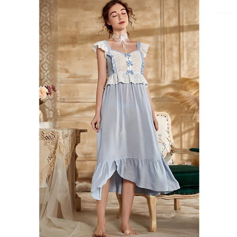 2021 Vintage Lace Nachthemd Frauen Solide Nachthemd Frauen Schlaf Kleid Nachthemd Süße Nachtwäsche Dame T9851
