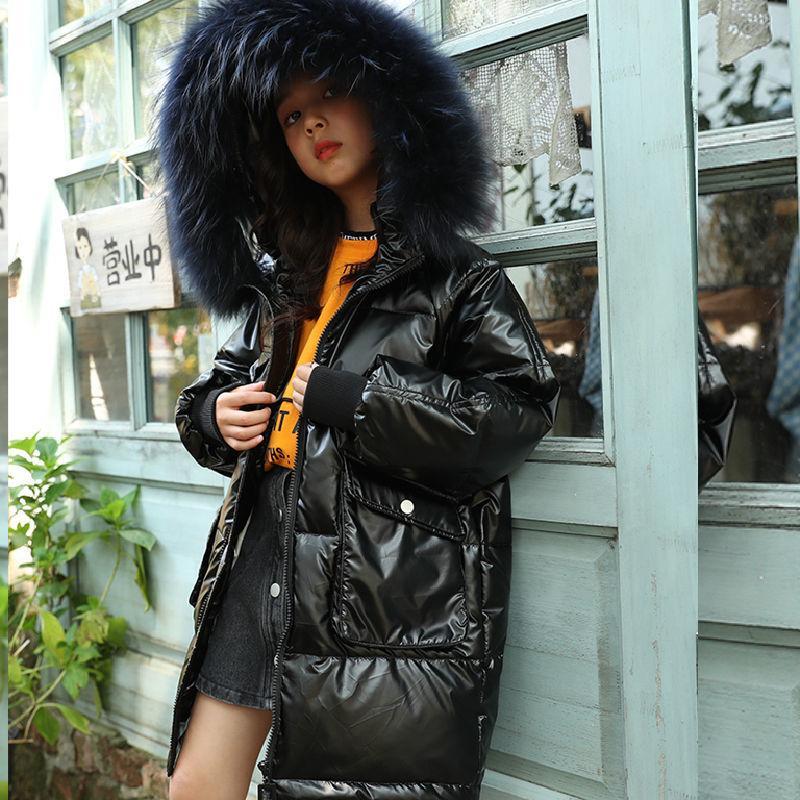 Russian Raparigas Brasão 2020 Inverno Parkas Outwear Adolescente Outfit Crianças das meninas do miúdo Fur revestimento encapuçado para 8 9 10 11 12 Anos LJ201017