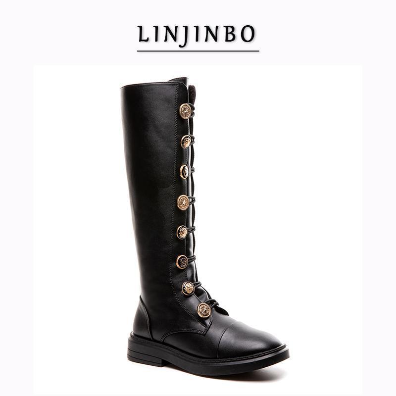 Automne / Hiver Flats Cuissardes Bouton femme Badge en métal longues bottes Femme Style rétro Femmes Chaussures 2020 Chaussures grande taille 34-43