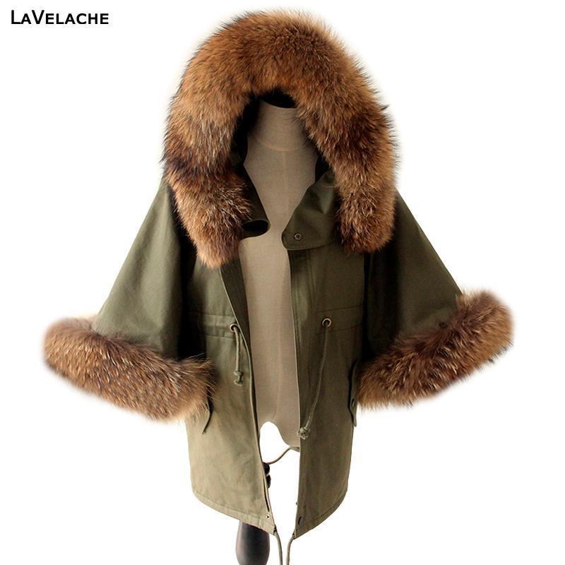 Inverno delle donne del rivestimento del cappotto Raccoon grande collo di pelliccia verde militare casuale del soprabito del chiarore del manicotto del mantello di cotone imbottito Outerwear