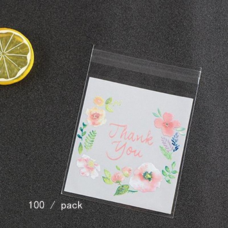 Las bolsas de plástico de embalaje del patrón de flor auto-adhesivo de regalo del caramelo de la galleta de embalaje bolsas de muestras Paquete Bolsa 3JVI #