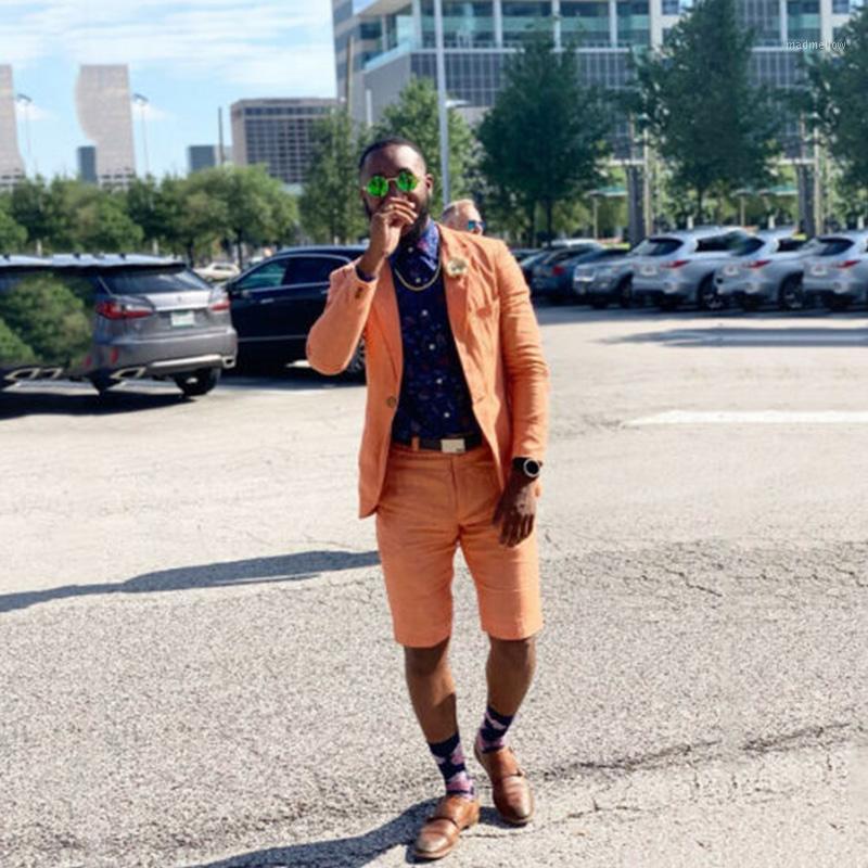 Último diseño 2020 verano naranja ropa de lino traje con pantalones cortos de verano Playa de novio Boda TUXEDO CUTSOM SLIM FIT 2 PISTA SIT1