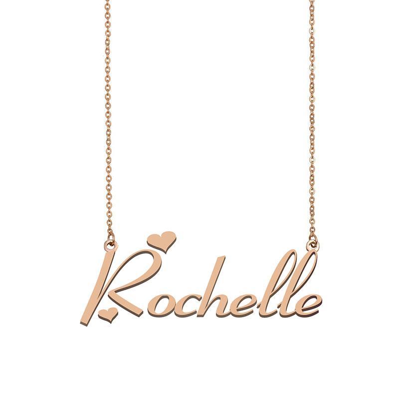 Rochelle Namenskette benutzerdefiniertes Typenschild Anhänger für Frauen-Mädchen-Geburtstags-Geschenk für Kinder Beste-Freunde-Schmucksachen 18k Gold überzogener Edelstahl