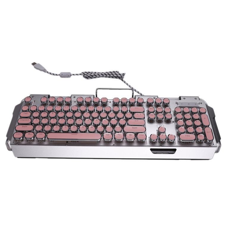X10 Mechanical Keyboard, Punk Round Retro Keycap Wired Mechanical Keyboard, Multiple Lighting Effects Keyboard