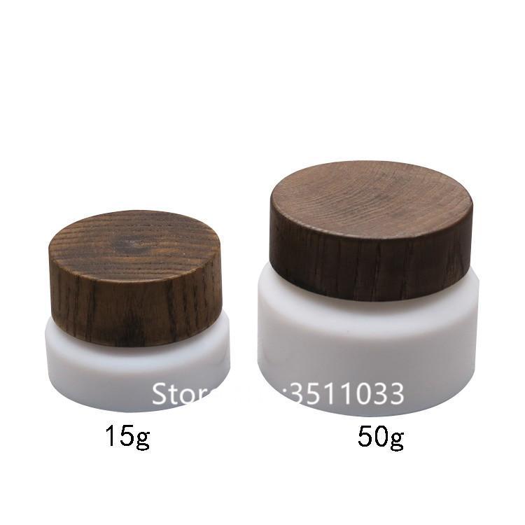 30pcs 15G vide en verre blanc creamic cosmétique POMMADIER en bois Cap Pot Rechargeables Eye Petits contenants
