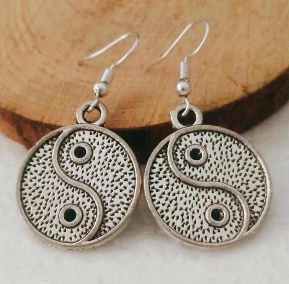 NEW Metal Crescent Alloy Tai Chi Yin and Yang Bagua Earring Friendship Charm Drape Earring DIY Women Jewelry Gifts 238