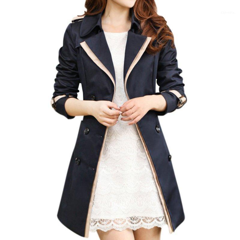 2020 Automne Overcoats Trenchers de Femme Manteaux à manches longues Mode Collier Collier Collier Vêtements Noir Outwear1