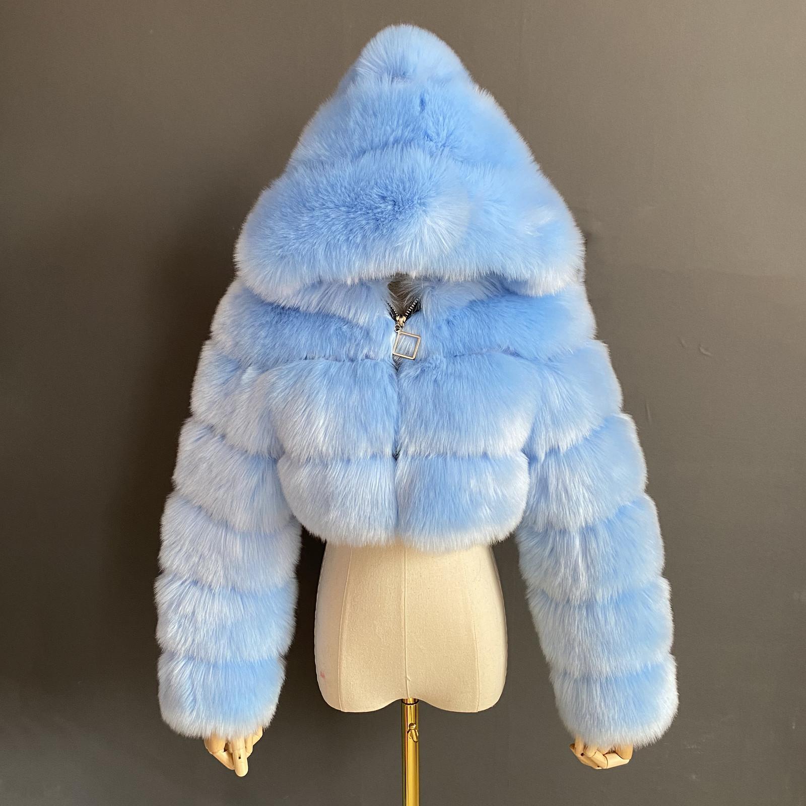 Hohe Qualität Getreide Pelz Faux Pelzmäntel Und Jacken Frauen Flaumy Top Mantel Mit Haube Winter Pelzjacke Mantel Weibliche 1017