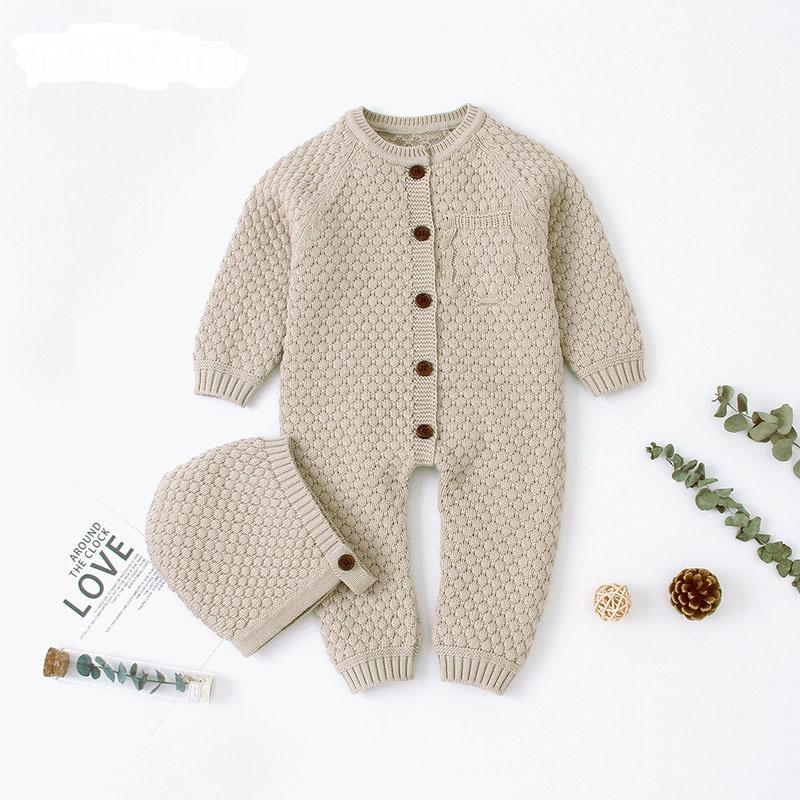 Baby Rompers Long Sleeve Jumpsuits Outfits Autumn Winter Newborn Girls Boys One Pieces Overall Toddler Kids Knitted Clothes Q1113