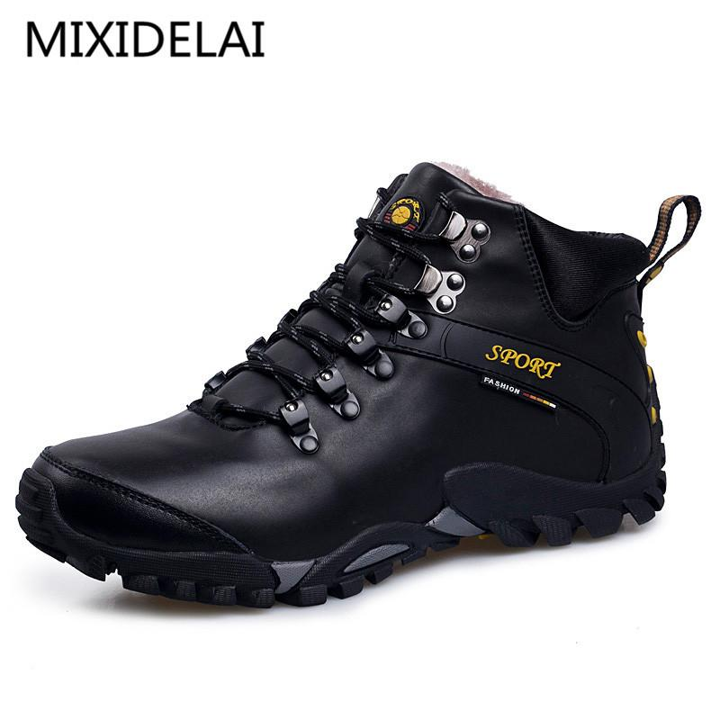 MIXIDELAI Yeni Yol Parça Erkekler Kar Boots Su geçirmez Erkek Ayakkabı Kış Bilek Boots Kürk Nefes Erkekler Kış Ayakkabı 3 Renkler 201026