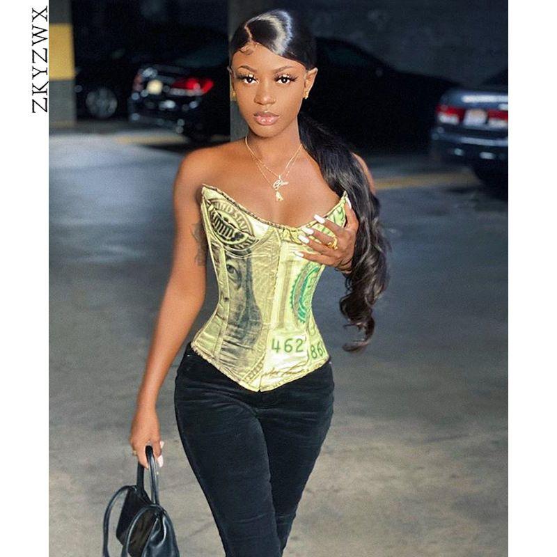 Zkyzwx Sexy Money Corset Top para desgastar por Mulheres Trendy Y2k Roupa Night Club Outfits Backless Vintage Tanque Bustier tops de culturas