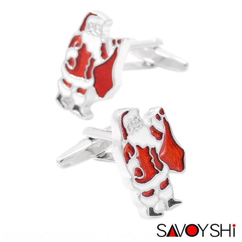 BGooF Savas cadeau rouge Gasli pin kou huile Père Noël Français Boutons de manchettes wo Gasli rouge cadeau de boutons de manchette pin kou huile Père Noël français