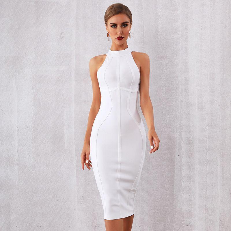 2020 Новое лето белых женщин Bodycon платье повязки Vestidos Элегантный танк Sexy рукавов клуб знаменитости Runway платье партии