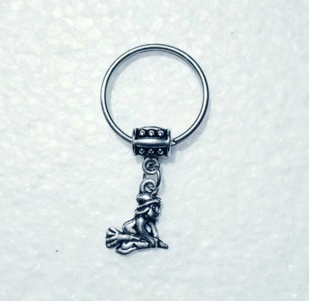 NEW HOT Fashion jewelry Witch riding a broom Keychain - charm pendant key chain ring DIY Fit Keychain - 220