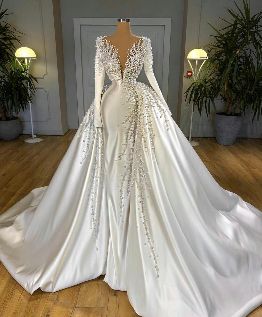 Las perlas magníficas vestidos de boda de la sirena de satén con manga desmontable del tren largo cuello en V vestidos de novia vestido de novia con cuentas de cristal