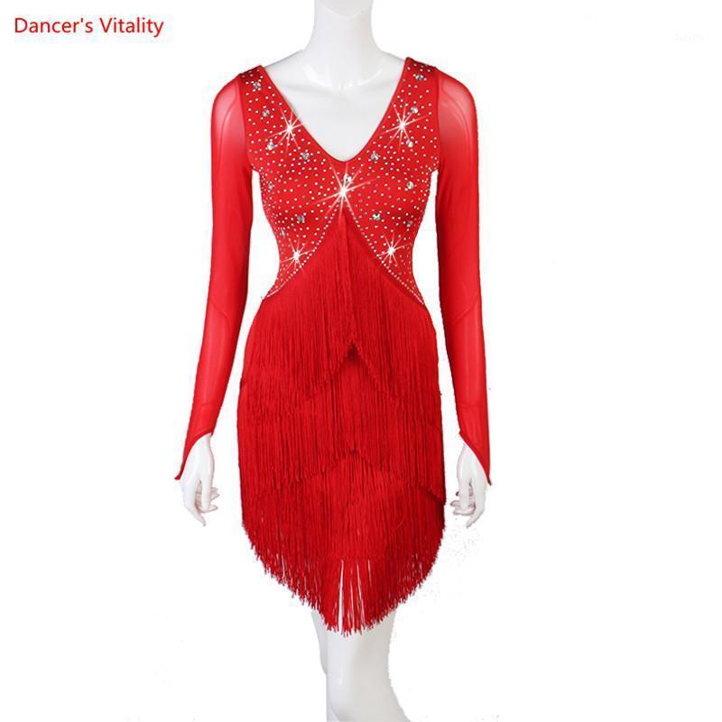 Sahne Giyim Kadın Latin Dans Elbise Özelleştirmek Boyutu Rhinestone Uzun Kollu Kırmızı Püskül Oyun Performansı Profesyonel Salsa Suit1