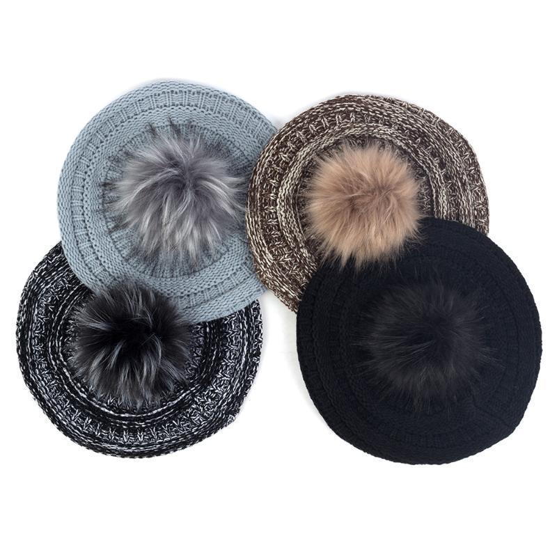 Berets Female Winter Ciepły Color Mieszanie zagęścić Retro Artysta Beret z faux futra pomni damskie kapelusze do włosów czapki maski czapki