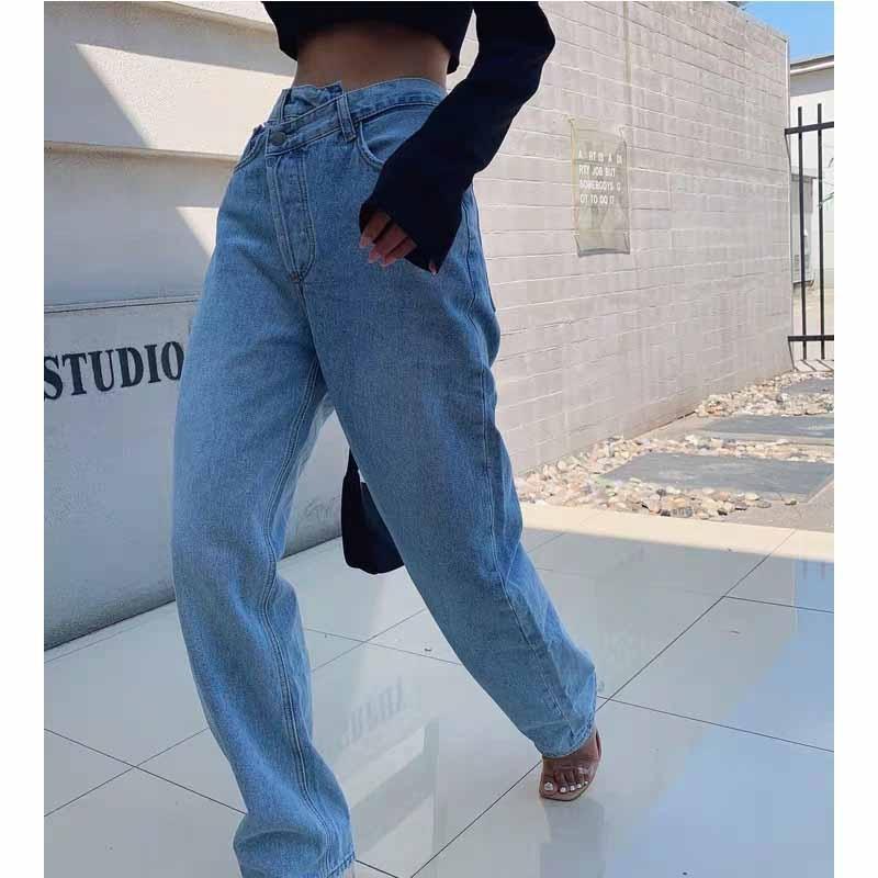 Cosmicchic Sommer Hohe Qualität Lässige verstellbare Taille Womens Elegante Jeans Vintage Mode Gerade Bein Jeans 201029