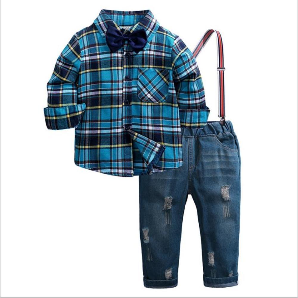 Conjunto de roupas Outono Meninos Gentleman Terno Kids Manga Longa Luva Laço Camisa xadrez + Macacões 2 Pcs Crianças Gentleman Boy Outfits Set