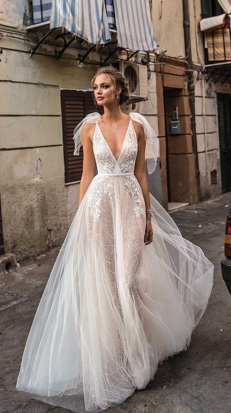 Berta atractivo 2021 vestidos de boda de playa sin espalda cuello en V profundo de los vestidos de novia de encaje apliques por encargo una línea vestido de compromiso