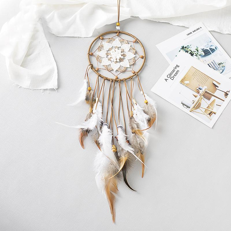 Creativo hueco Dream Catcher Inicio Viento Chime Colgante Boda Dormitorio Kids Habitación Decoración Adornos de plumas Dream Catcher-60295