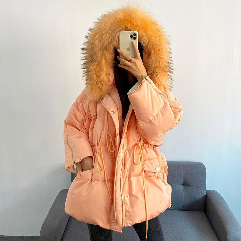 2020 winter Snow down coat women Hooded Natural real Fur Collar Long Down Coat 90% White Duck Parkas Streetwear Warm YRF160