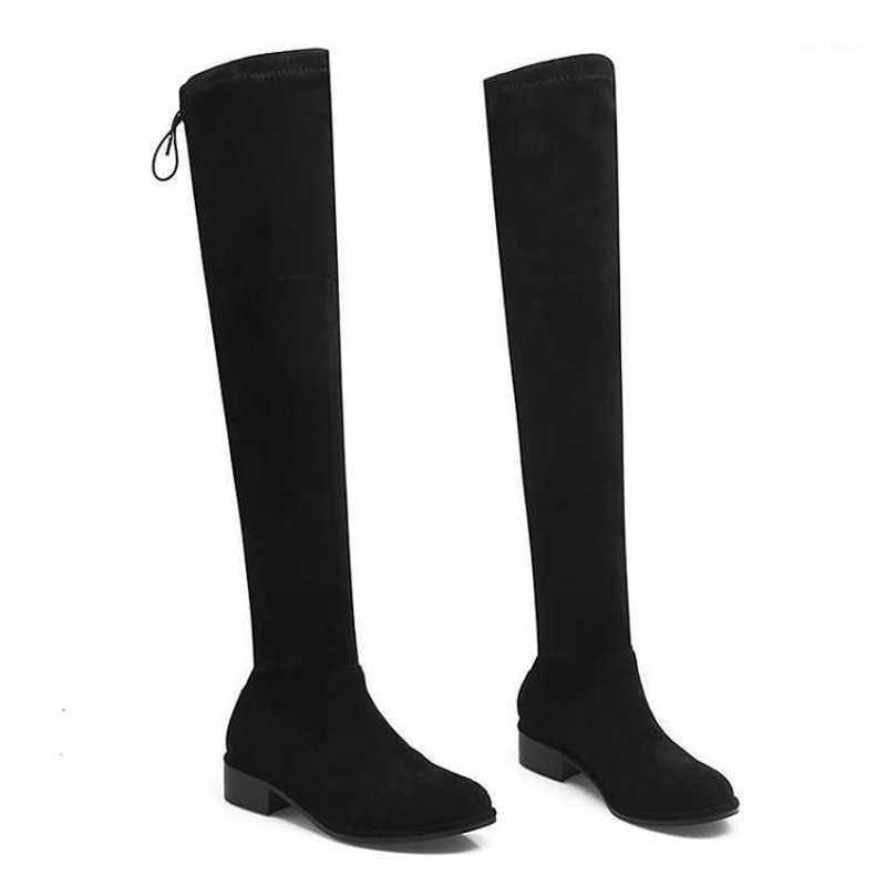 على الانزلاق زائد حجم الأحذية الطويلة فوق الركبة أحذية النساء الأحذية امرأة الشتاء الأسود قطيع مربع منتصف الكعوب المعادن الدانتيل up1