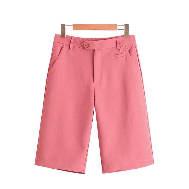 Klacwaya donne 2021 chic moda ufficio indossare tasche laterali pantaloncini dritti vintage vita alta cerniera con cerniera pantaloni corti femminili Mujer