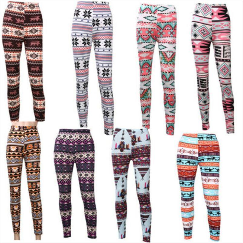 Moda Kadınlar Tozluklar Noel Geometrik Desen Baskı Pantolon Stretch İnce Tayt Bayan Noel Giysileri Yüksek Bel Pantolon