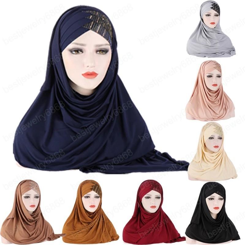 Tek Parça Müslüman Kadınlar Bayanlar Hazır Üzerine Çekin Anında Şal Başörtüsü Eşarp İslam Başörtüsü Pullu Çapraz Namaz Kapşonlu Wrap Cap