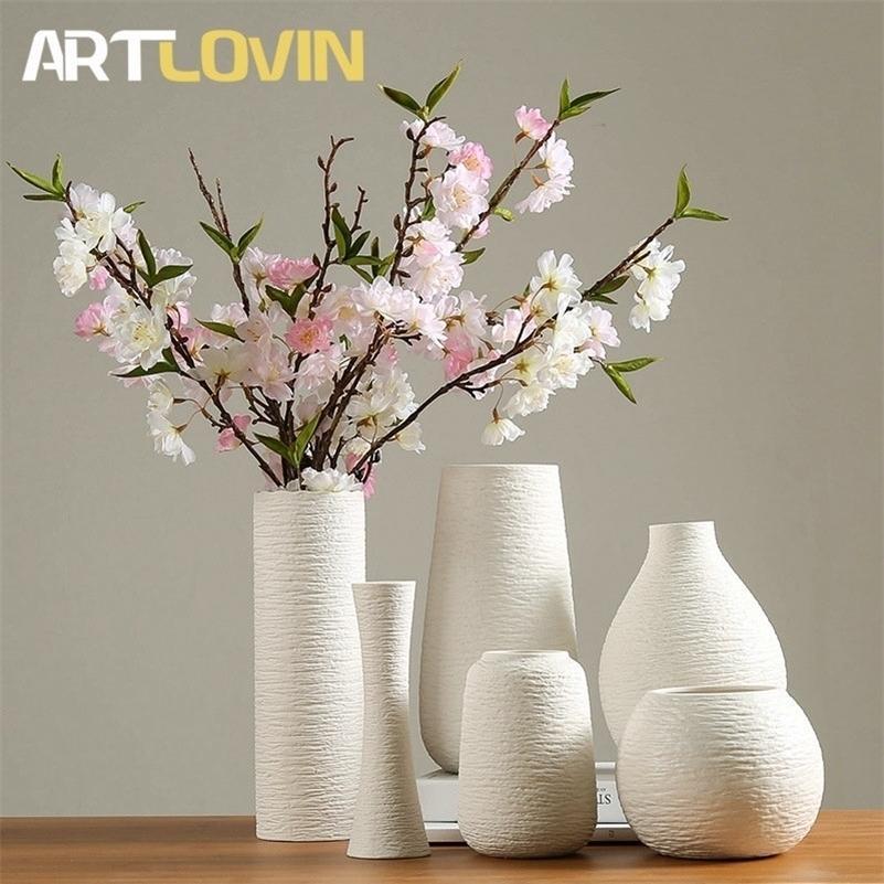 Vase en céramique blanc classique Vases de porcelaine chinoise Design Simple Simple pour fleurs artificielles Accessoires de décoration à la maison LJ201208