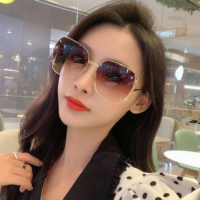 Frame Irrégular Big Mode Trend Nouveau Net Femme Rouge Même Sunglasses 1252