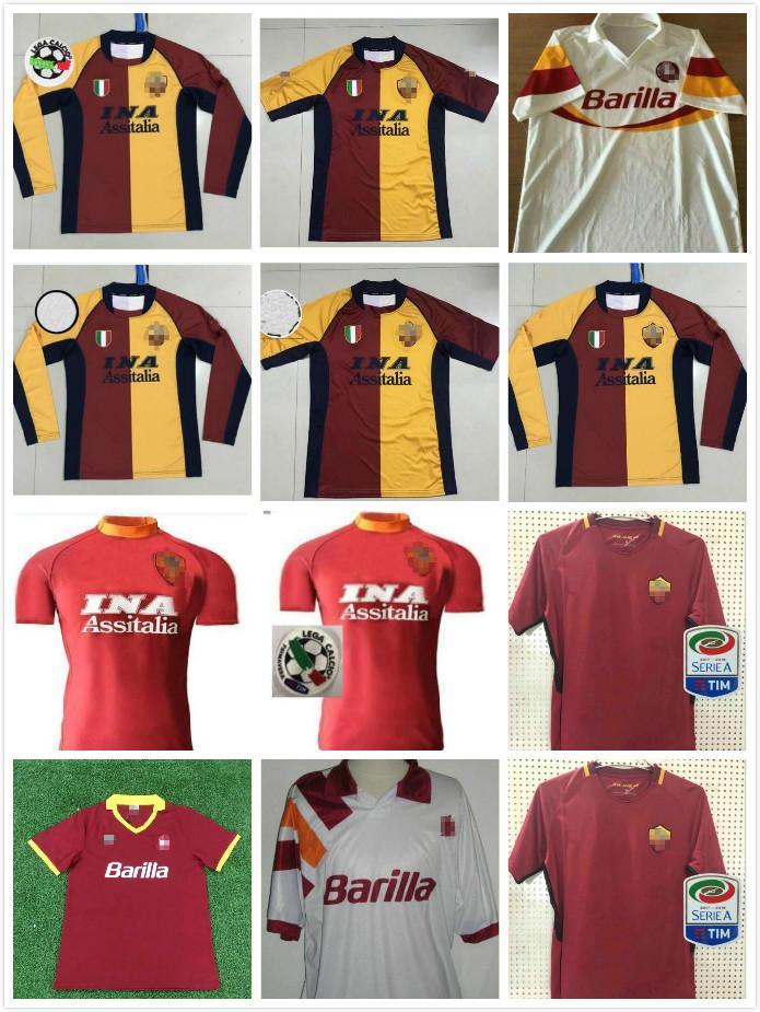 00 01 02 90 91 92 94 95 96 Retro Roma 2017 2018 football TOTTI DE ROSSI DZEKO NAINGGOLAN 17/18 du football Rétro chemise de S-2XL