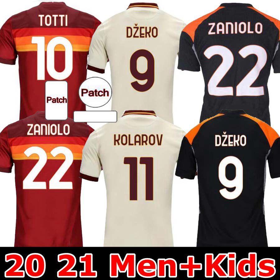 2020 2021 Roma Futbol Formaları De Rossi Dzeko Zaniolo Totti Perotti Kolarov 20 21 Futbol Gömlek 2020 2021 Erkekler Çocuk Üniforma Maillot Üçüncü