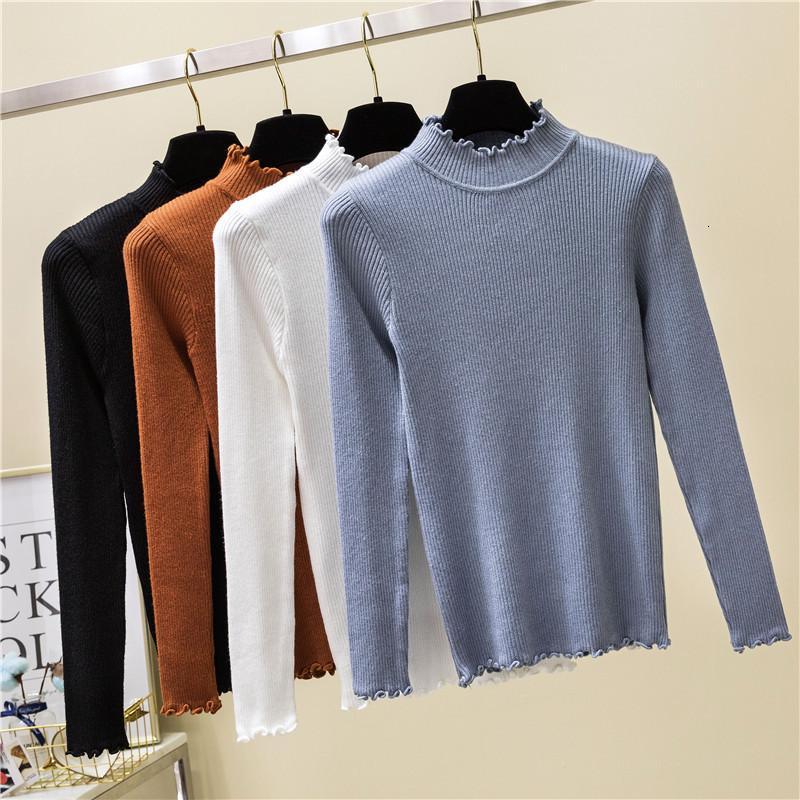 2019 осень зима новых женщин высокой эластичностью пуловер свитер хлопка мягкие трикотажные Женский Jumper