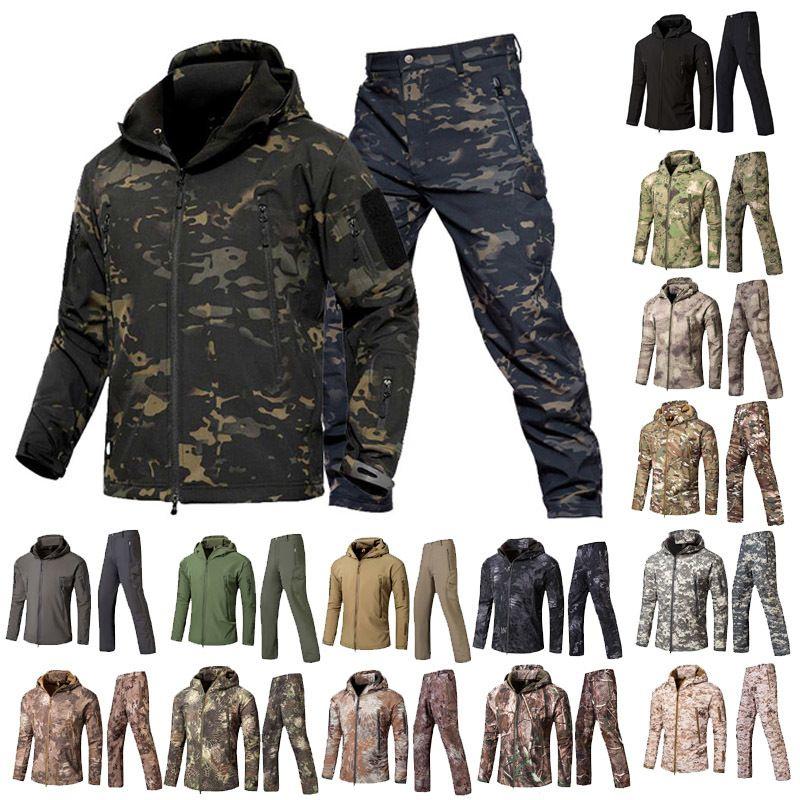 Woodland ao ar livre caça tiro vestuário tactical camo casaco combate roupas camuflagem windbreaker softshell calças de jaqueta ao ar livre conjunto