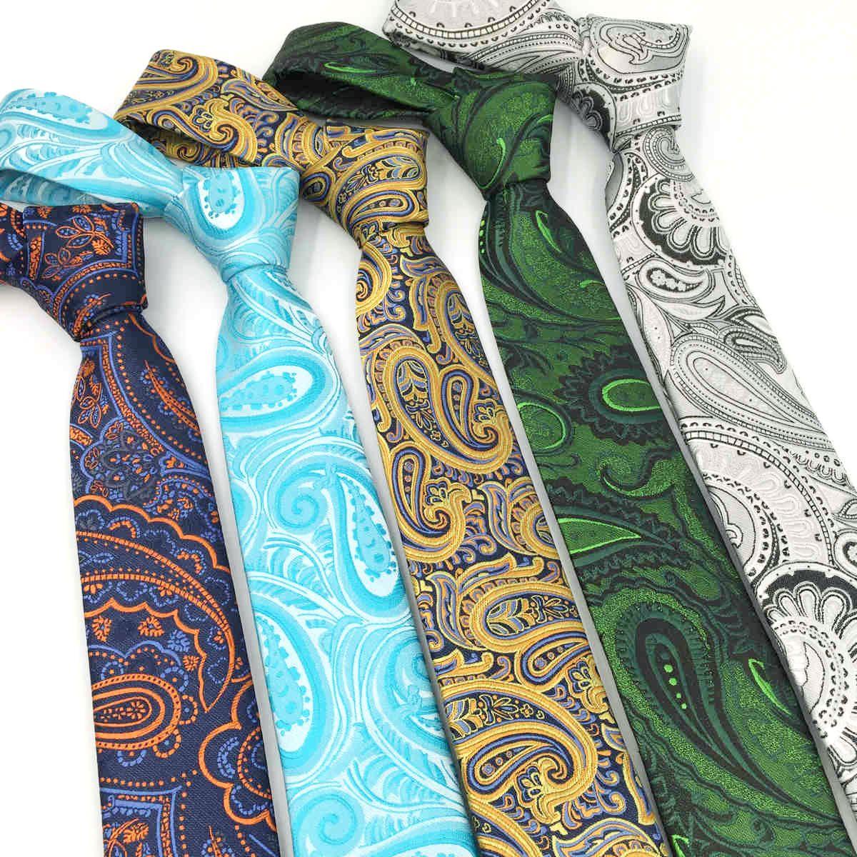 Ny färgglada 63inch 160cm Slipsar Silke Business Slipsar För Män Extra Lång Storlek Klassisk Paisley Blå Bröllop