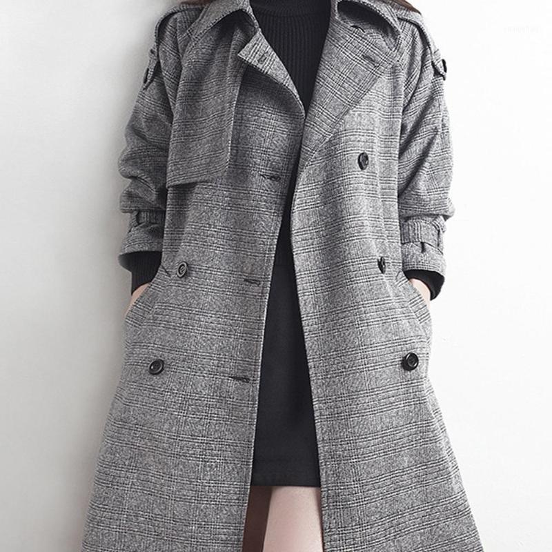 여성 트렌치 코트 격자 무늬 윈드 브레이커 재킷 숙녀 2021 가을 한국어 버전 긴 섹션 코트 1의 더블 브레스트 슬림 슈트