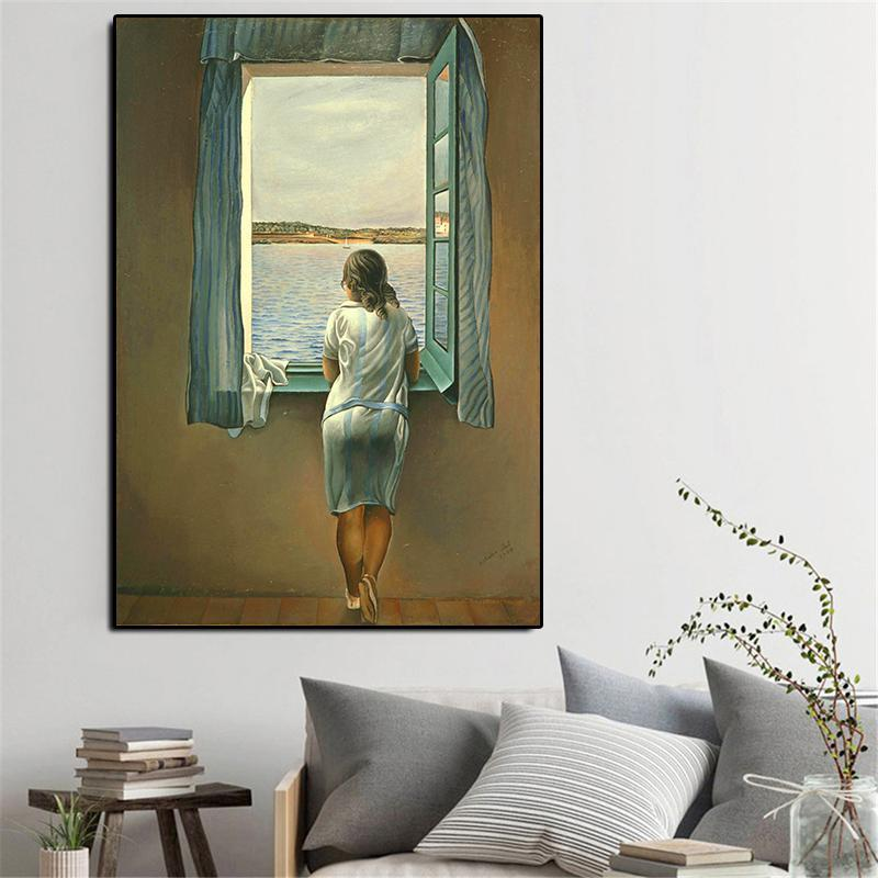 Paintings Salvador Dali Canvas Famous Painting Figure At A Window Art Print Posters Wall Pictures For Living Room Home Decoration