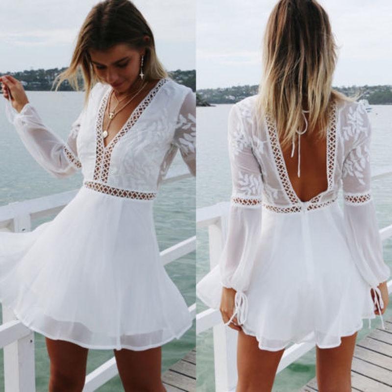 Frauen V-Ausschnitt Langarm Backless Kleid Pure White Party Sommer Strand Mini Sommerkleid Sexy Kleid