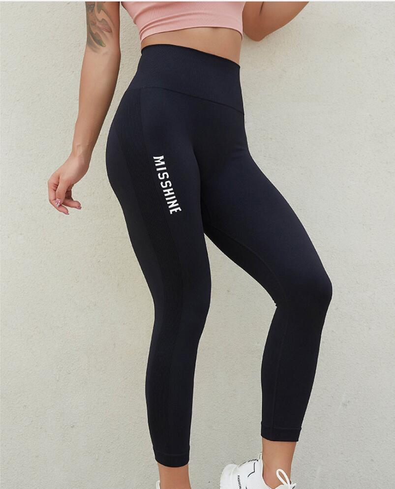 Nouveau pantalon de yoga sans soudure de femmes HIP soulevant des pantalons élastiques de fitness serré Pantalons de sport élastiques respirants serrés