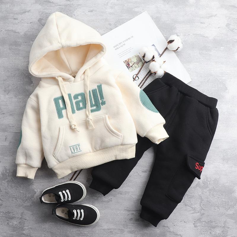 Clothing Sets Boy Clothes 2021 Winter Male Baby Plus Velvet Thick Suits Hoodies+pants 2pcs Suit For Boys Children Casual Sports