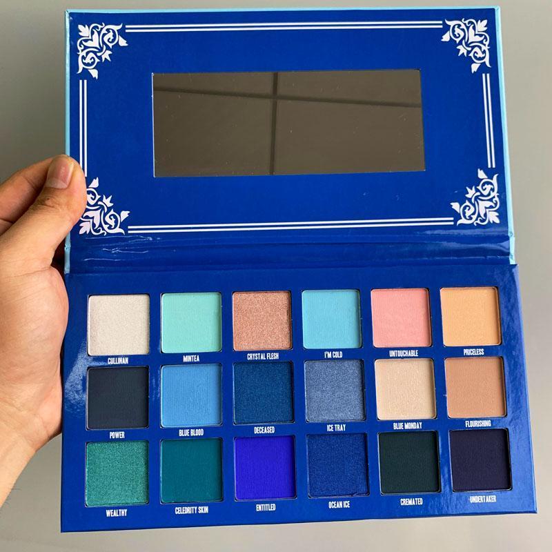 JS الأزرق BLOOD 18colors لوحة ظلال JS المتقدم الأزرق نغمة مسحوق لوحة وميض بريق لامع ظلال العيون