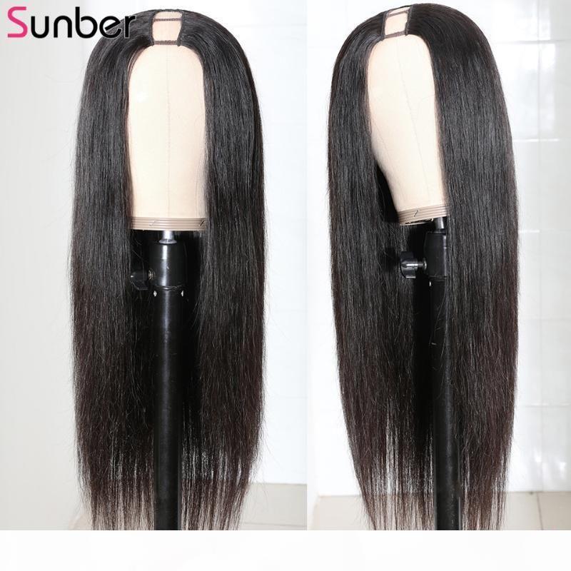 Sunber péruvienne longue ligne droite U Partie perruque de cheveux humains 1 * 4 Moyen Partie 150% Densité réel Scalp Glueless humaine perruque